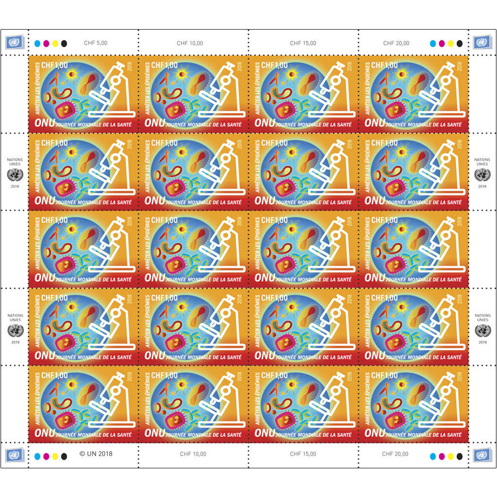 2018 world health day chf 1 00 full sheet un stamps